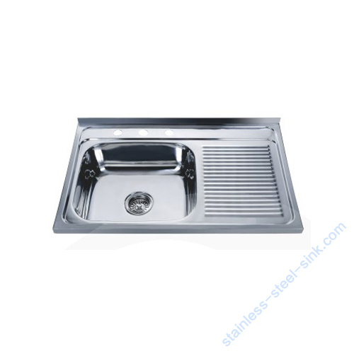 Single Bowl with Drainboard Kitchen Sink WY-8050SC