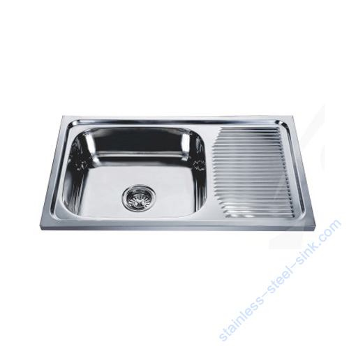 Single Bowl with Drainboard Kitchen Sink WY-7544
