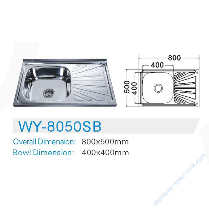 Single Bowl with Drainboard Kitchen Sink WY-8050SB