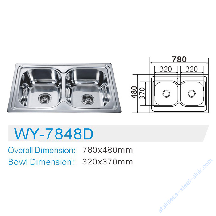 Double  Bowl Kitchen Sink WY-7848D