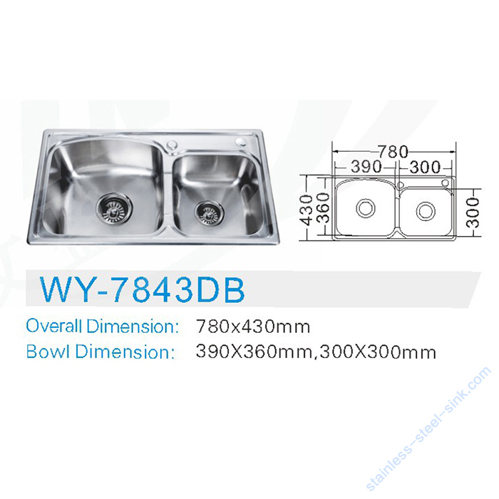 Double Bowl Kitchen Sink WY-7843DB