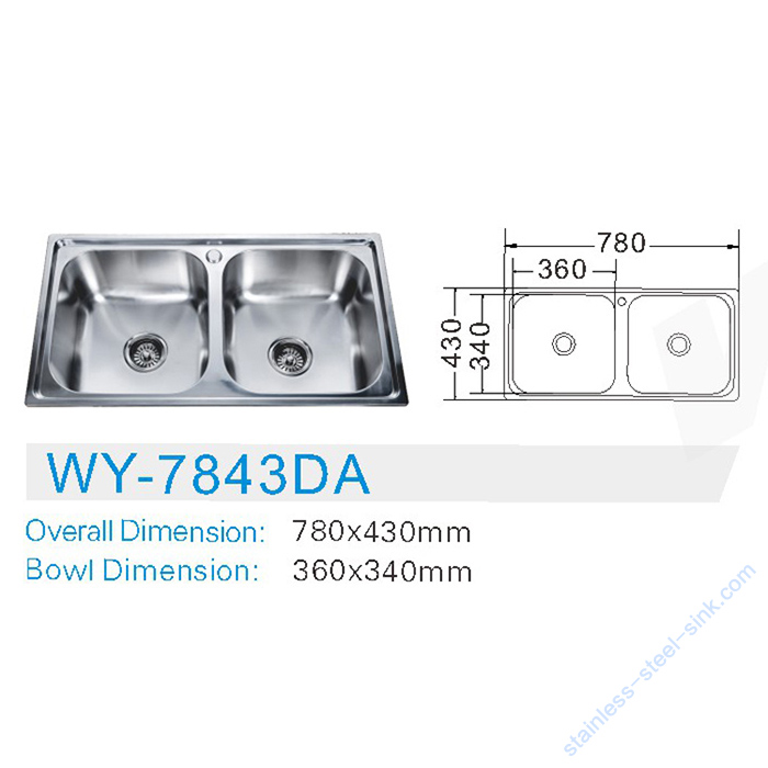 Double Bowl Kitchen Sink WY-7843DA