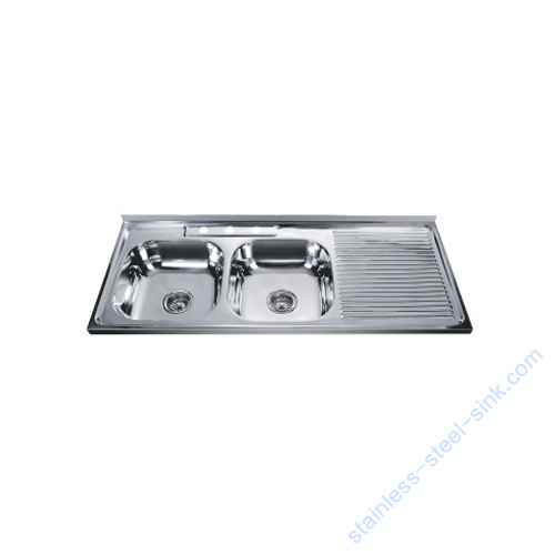 Double Bowl with Drainboard Kitchen Sink WY-12050DA